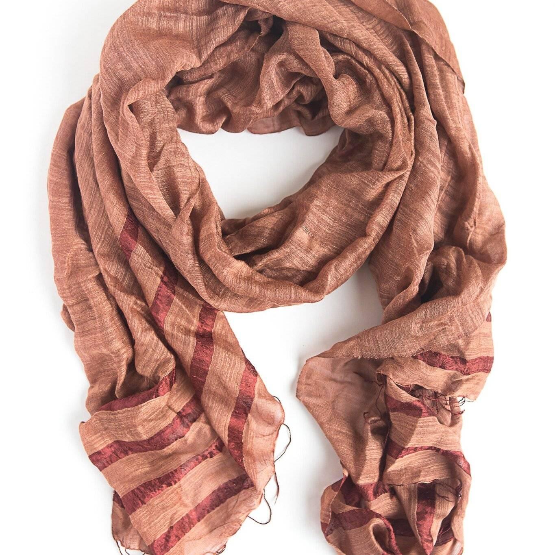 pumpkin striped handwoven scarf from Fair Anita