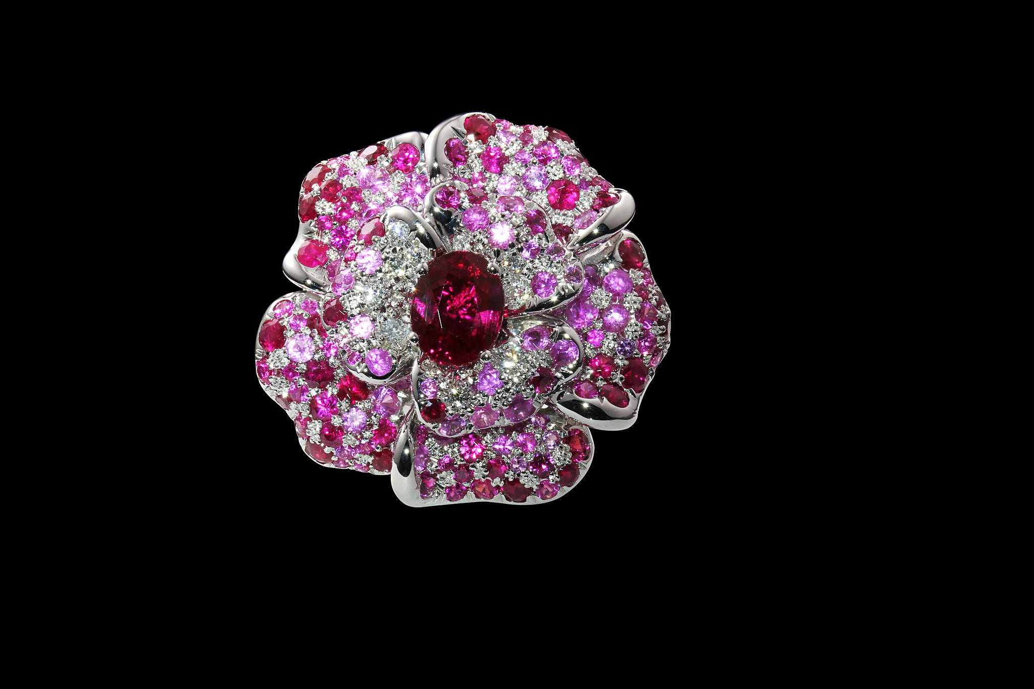 Burmese Rose ring  top view yves lemay jewelry