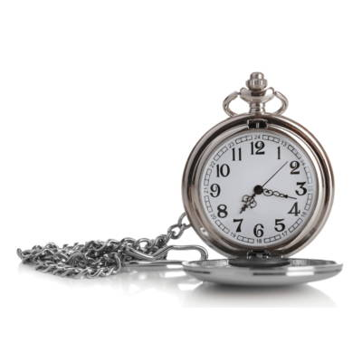 small silver pocket watch with small silver clip
