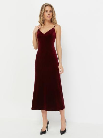 Платье-сорочка BOHO, бордовый