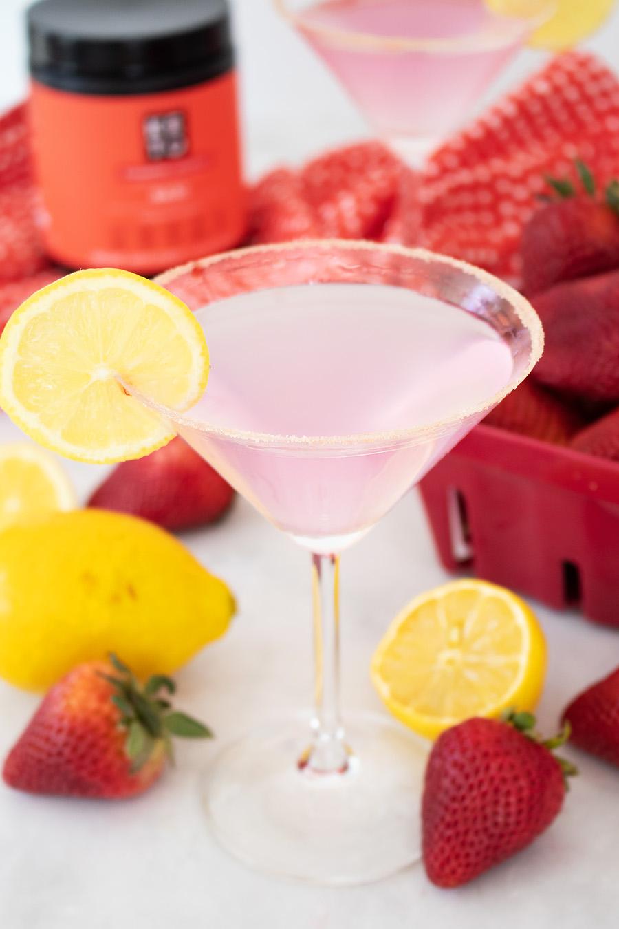 Keto strawberry lemon drop martini