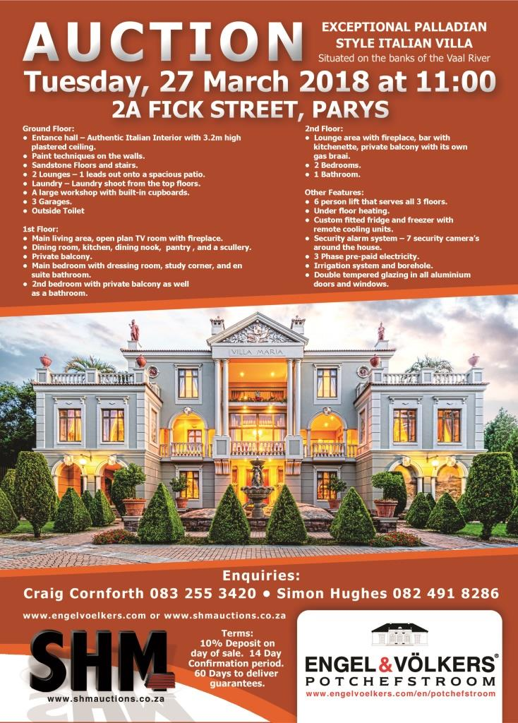Potchefstroom - On Auction Villa Maria, Parys, Free State