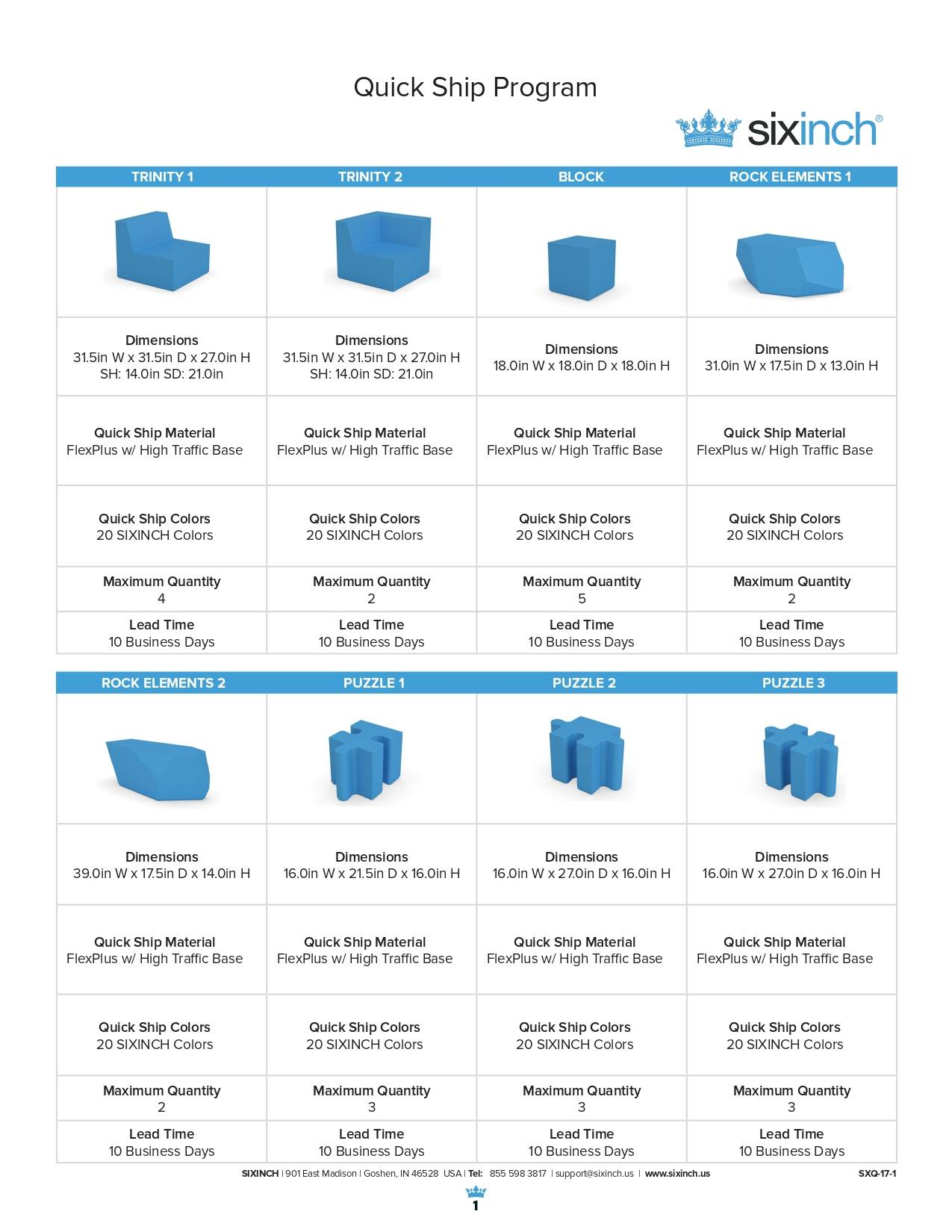 Six Inch Seating Quickship Brochure