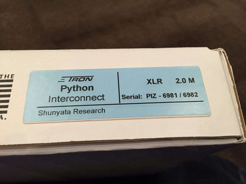 Shunyata Research ΞTRON® Python Interconnect XLR 2.0M