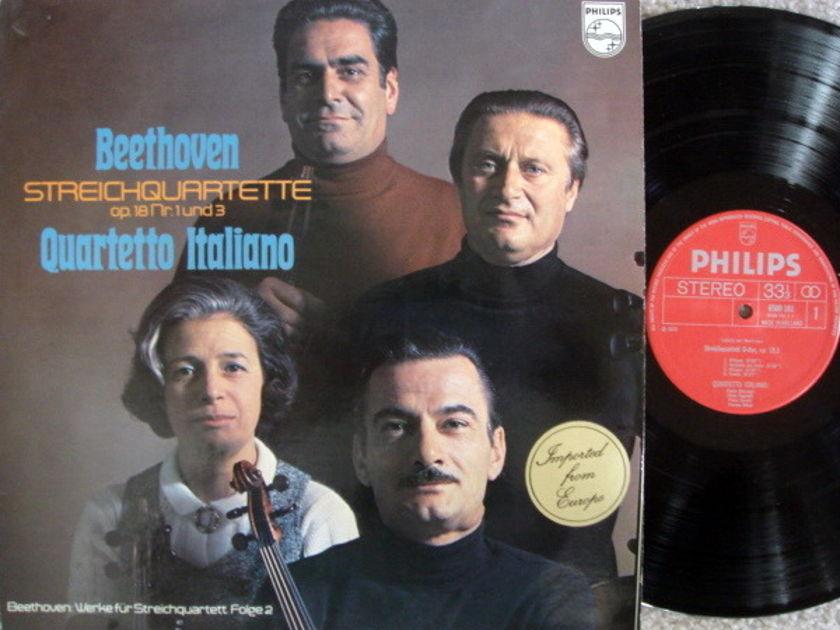 Philips / QUARTETTO ITALIANO, - Beethoven String Quartets Op.18 No.1 & 3,  NM!