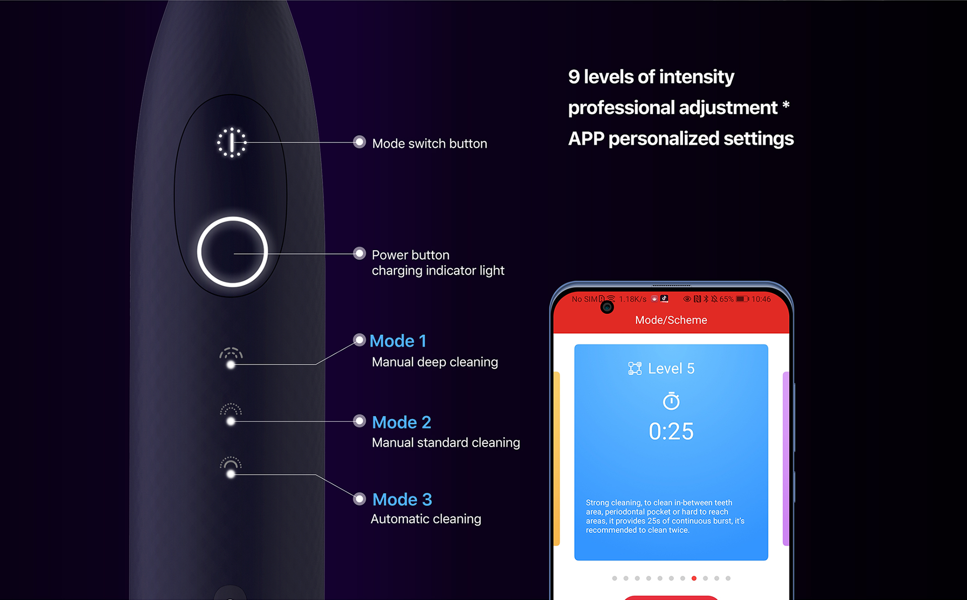 9 levels of intensity professional adjustment APP personalized settings
