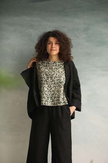 Льняной костюм (черный)