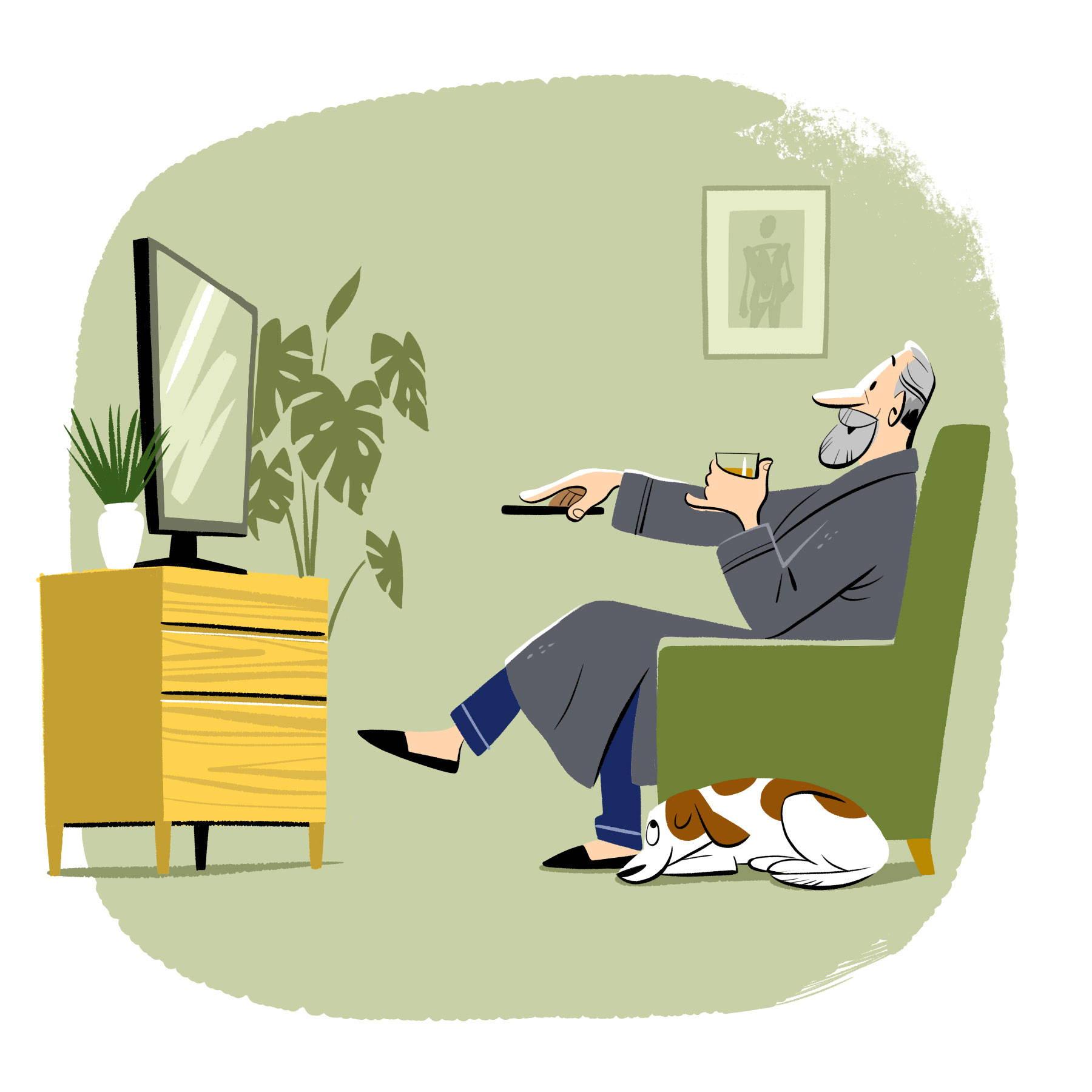 Illustration of man watching tv in pyjamas