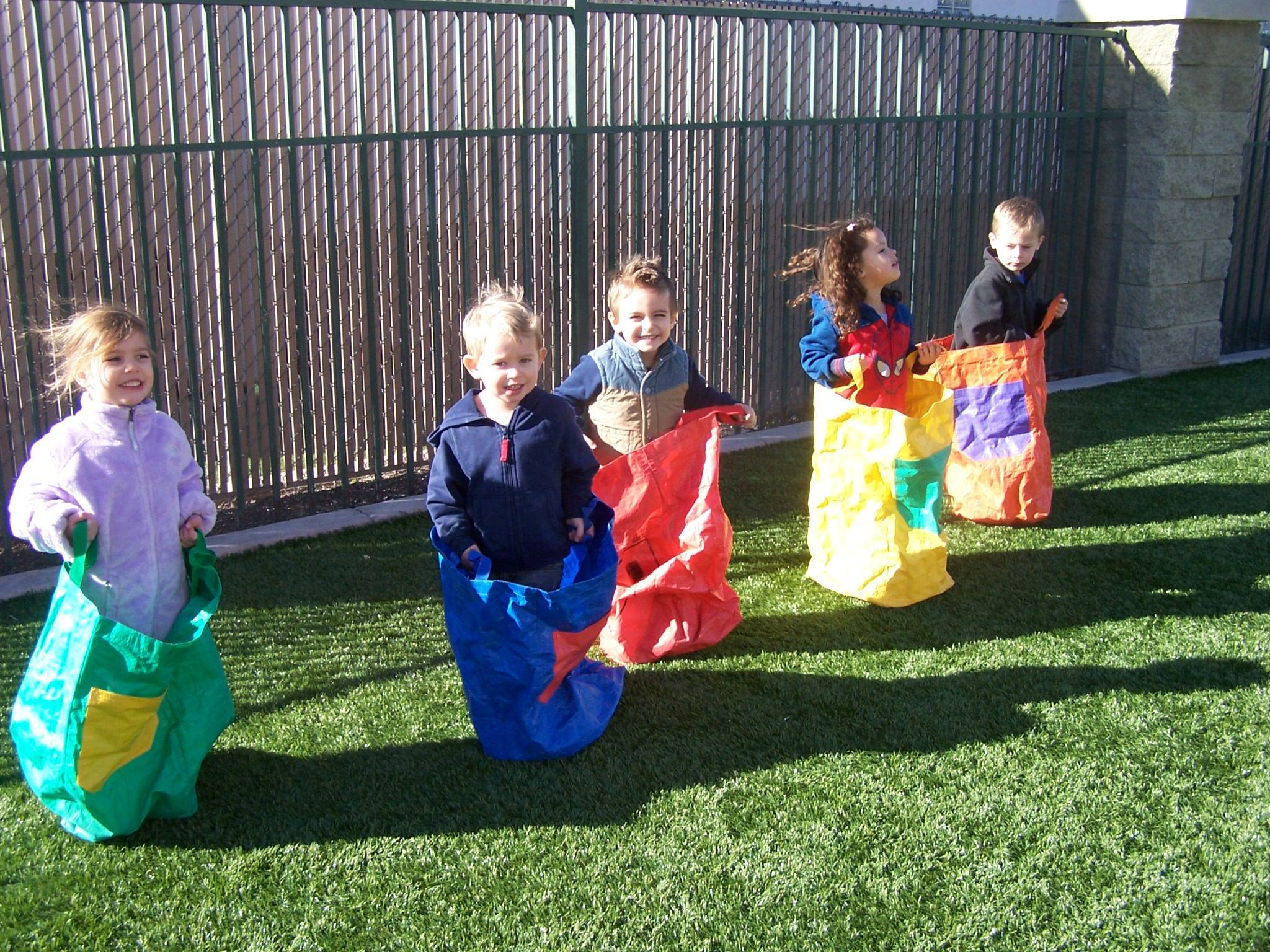 Primrose students getting ready for field day sack race