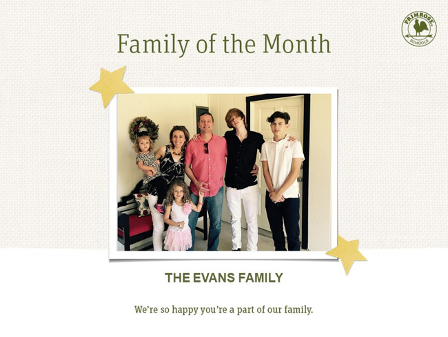 Family of the Month Evans Family