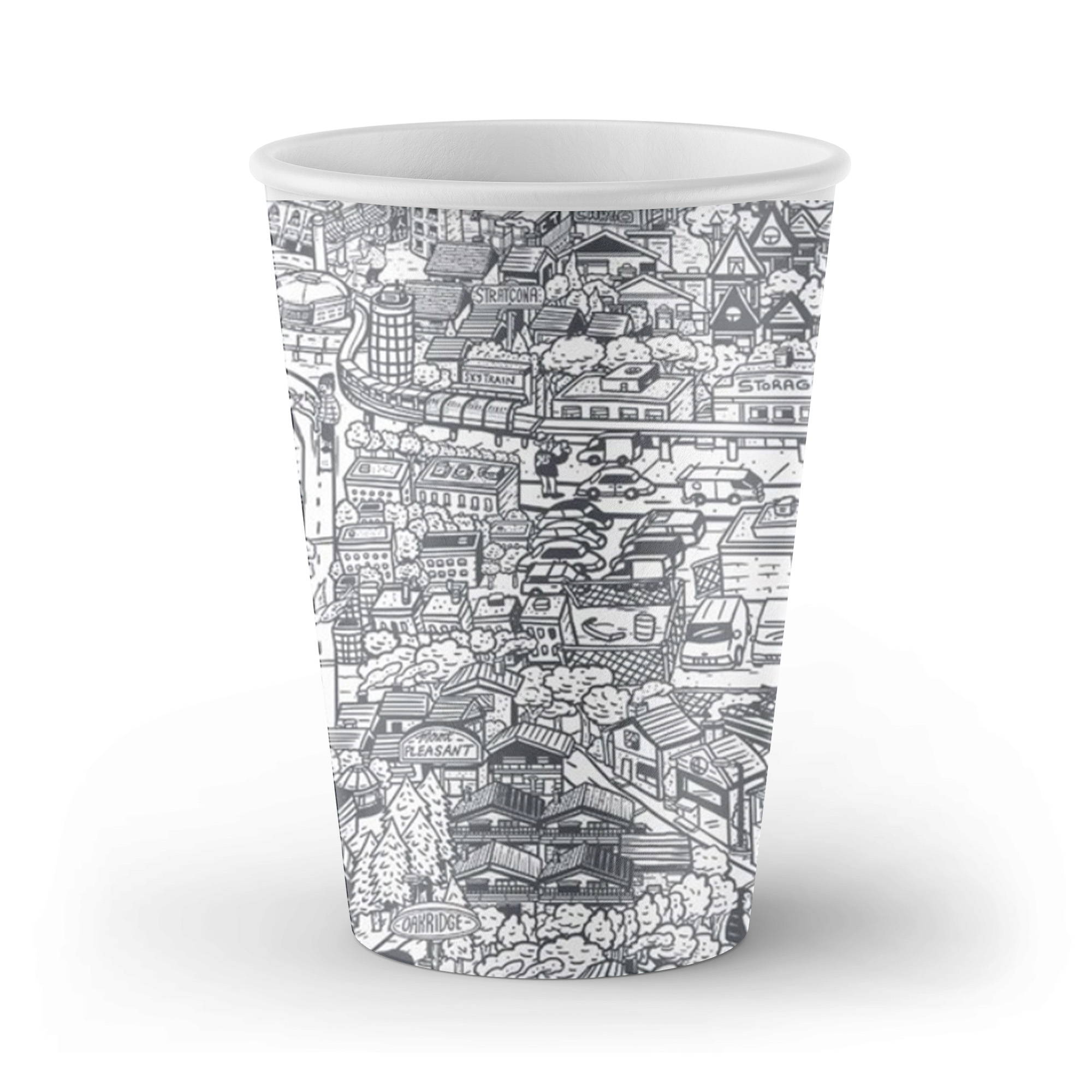 biodegradable cups, custom cups with black and white design