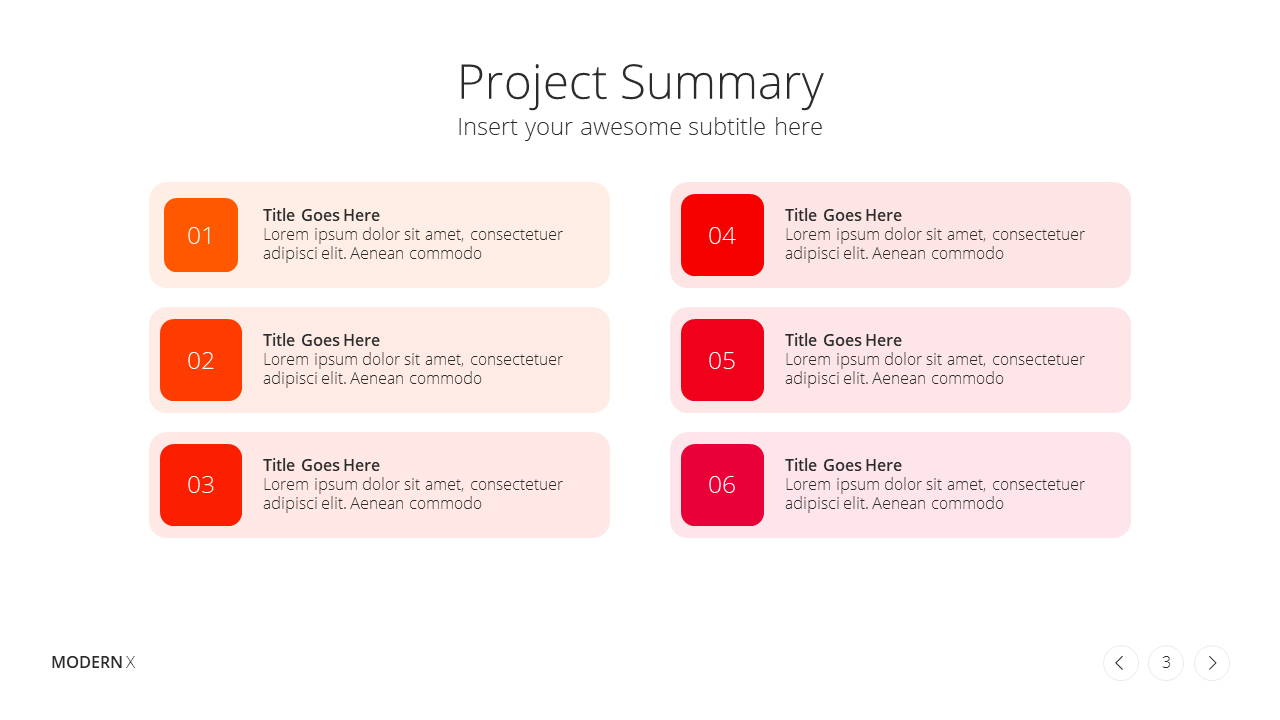 Modern X Project Proposal Presentation Template Project Summary