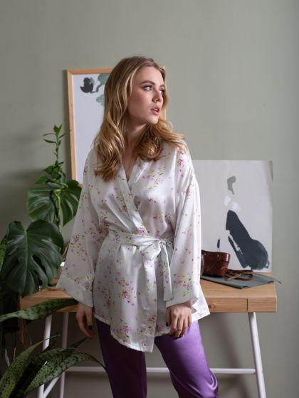 Женская шелковая пижама с брюками и кимоно
