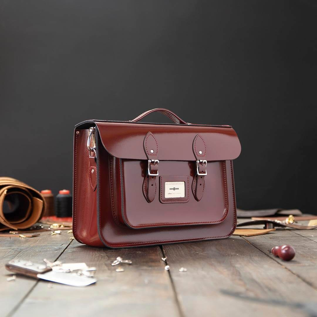 Red 15 inch Leather Work Bag