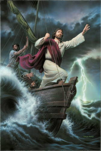 Painting of Jesus standing at the front of a boat and calming the seas.