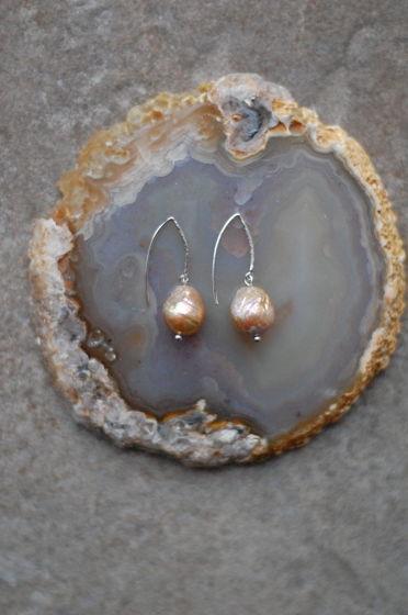 Лаконичные серьги из серебра 925 и жемчуга касуми