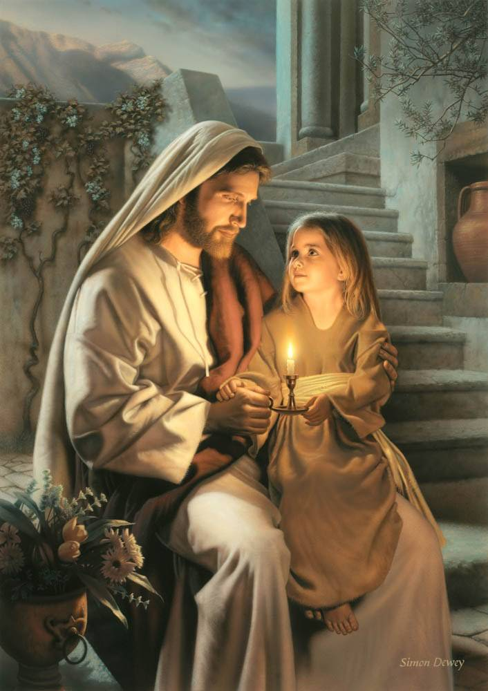 LDS art painting of Christ and little girl holding a candle.
