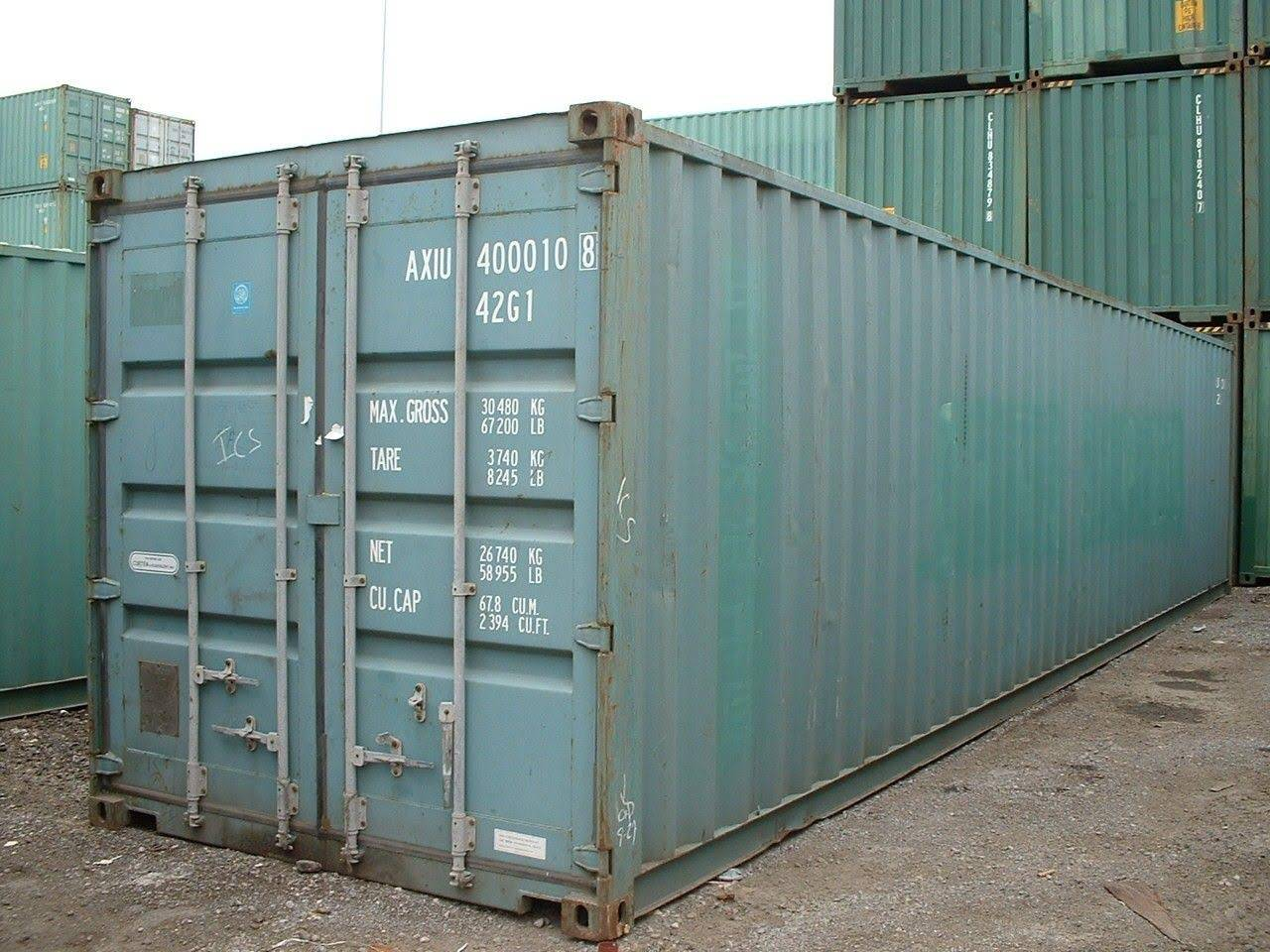 40 foot shipping container side view