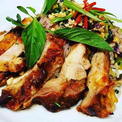 Flame Grilled Chicken Thigh w/Thai Coconut Shiratake Noodles ( LC | LF | HP | KF )