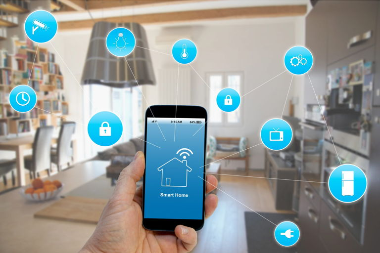 a smartphone controlling a smart home