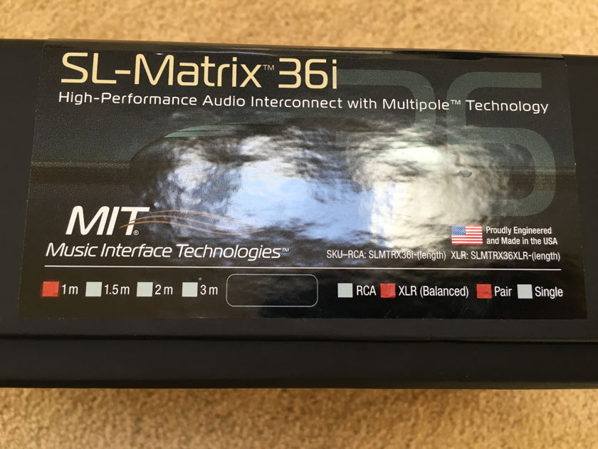 MIT Cables SL-Matrix 36i 1mt, Balanced  ** REDUCED  CHEAP**