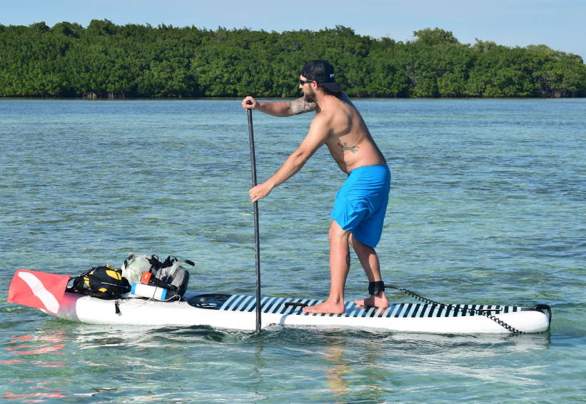 Kevin on the big ez air inflatable sup board