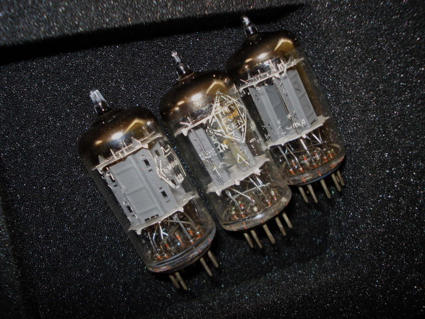 THREE TUBES, ECC82 (12AU7) TELEFUNKEN,  MADE IN GERMANY <>  TESTED AS NEW.