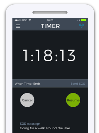 Countdown timer screen of app