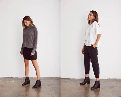 Woman wearing grey charcoal turtleneck jumper and black mini skirt with black ankle boots and woman wearing white short sleeve top and black cropped trousers with black ankle boots from sustainable fashion brand Vetta