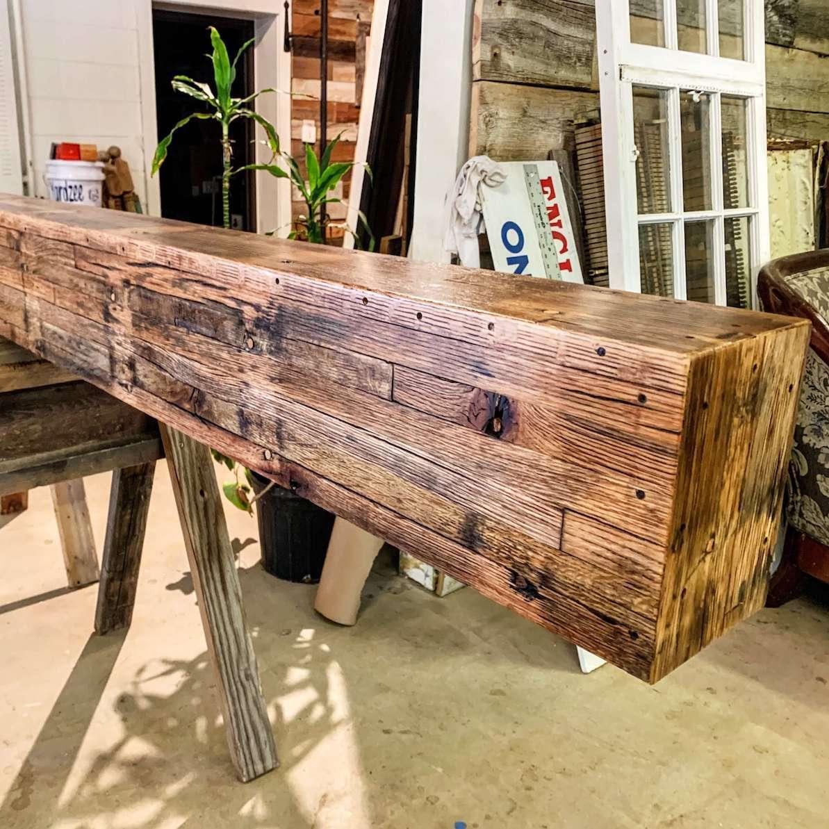 box beam made with salvaged oak trailer flooring box beam