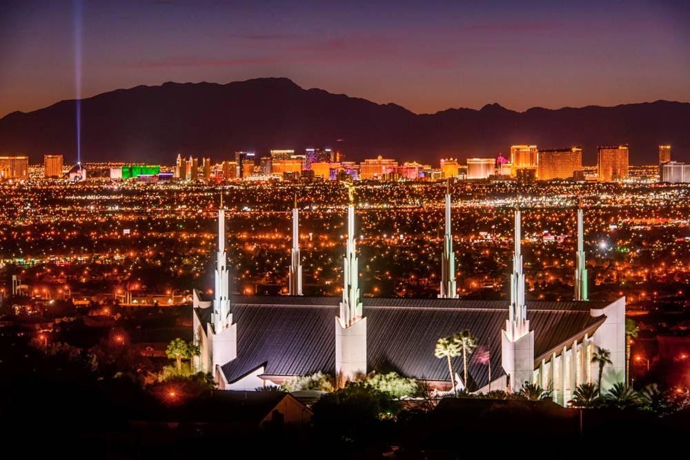 Panoroamic photo of Las Vegas Nevada LDS Temple at night.