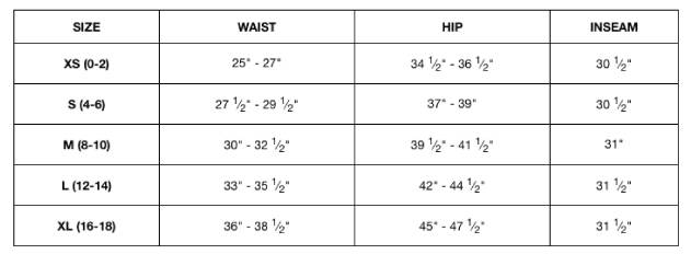 Unsung Hero Women's Bottoms Size Chart