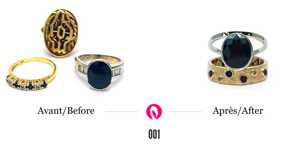 3 bagues en or avec des saphirs et des diamants transformées en une seule bague deux tons à deux anneaux avec un saphir au centre