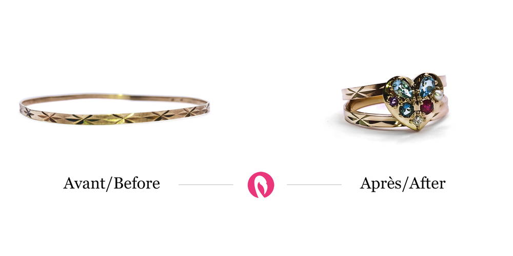 Transformation of a patterned bracelet into a two-tiered ring with the same motifs and the addition of precious stones