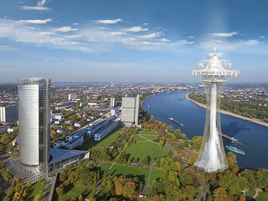 "Hamburg - The planned tower ""Aire"" in Bonn (right)"
