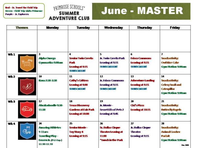 June Summer Calendar