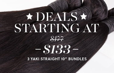 Shop Yaki Straight Hair 10 inch 3 Bundle Deal