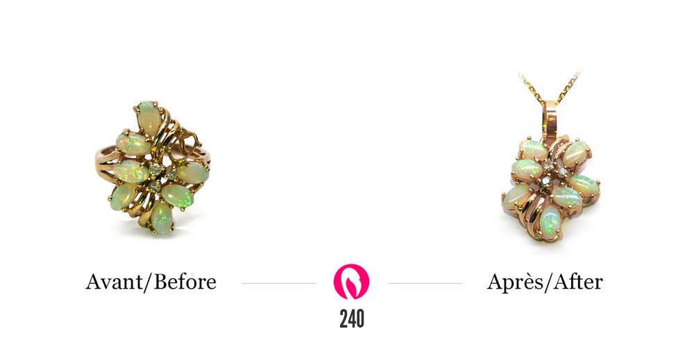 Bague en or jaune avec opales et diamants transformé en pendentif