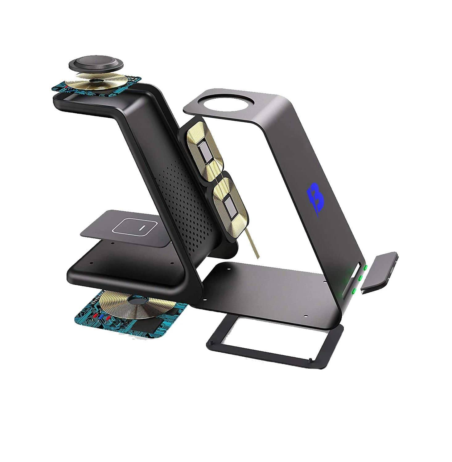 3 in 1 charging station hardware internal qi charging coils