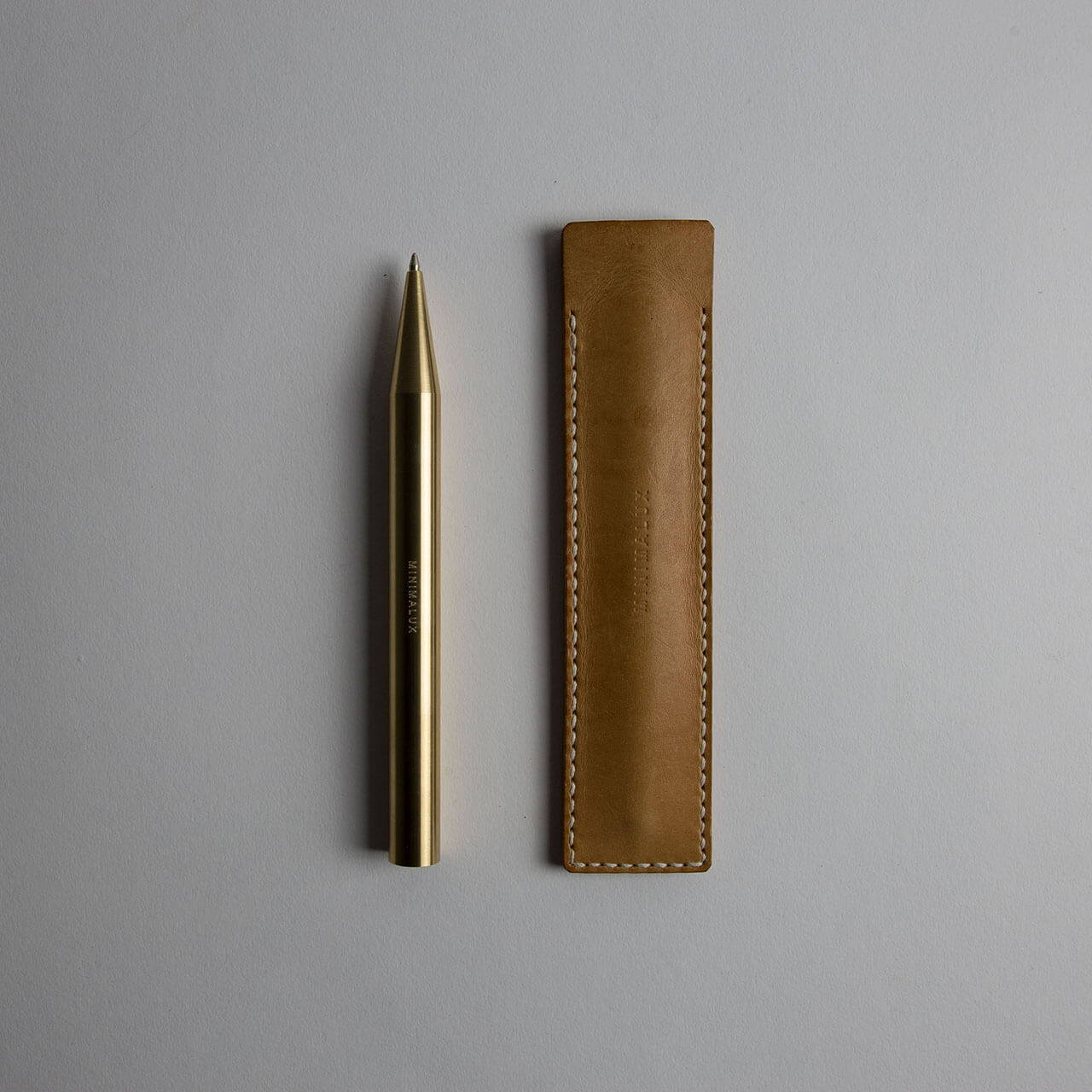 Brass Ballpoint Pen with Leather Pen Sleeve