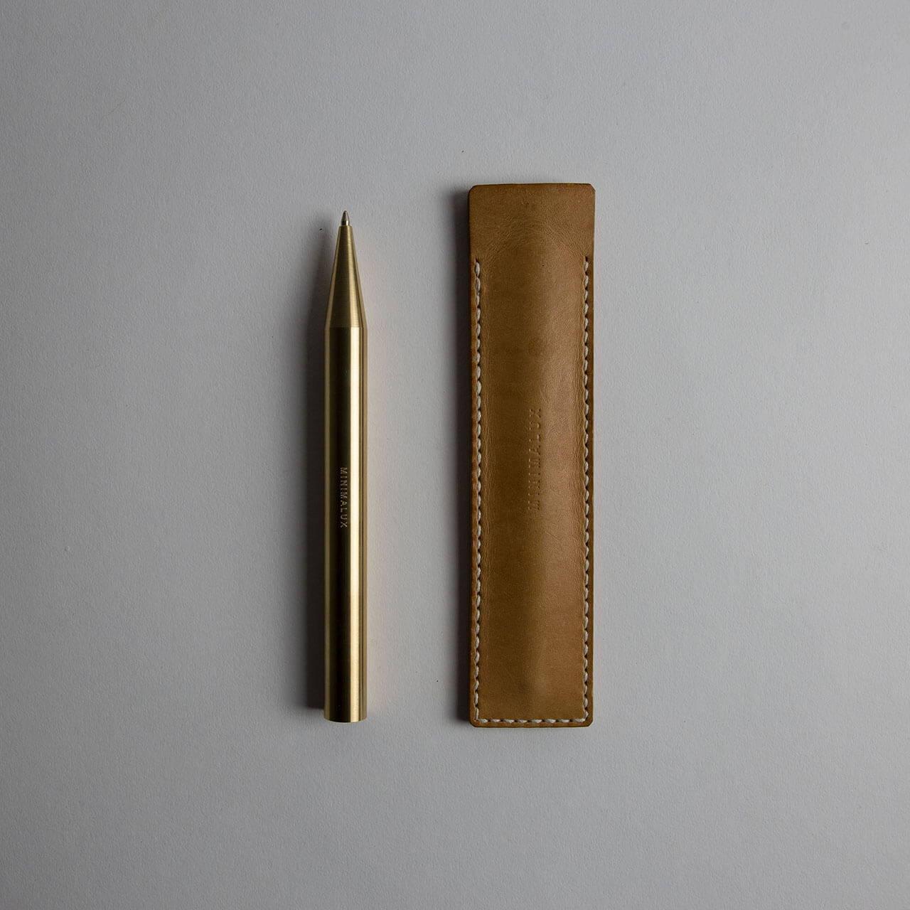 Brass Ballpoint Pen with Leather Pen Sleeve