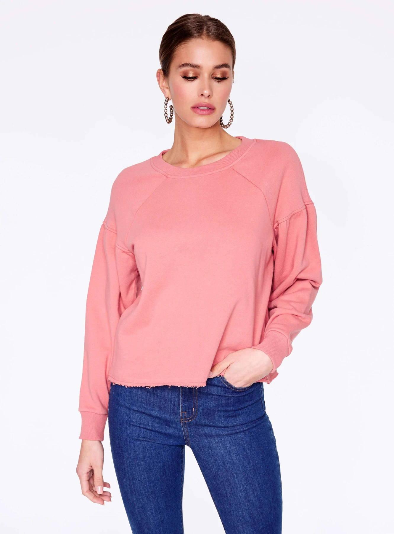 HeyYou Basic Long Sleeve Sweatshirt in Rose