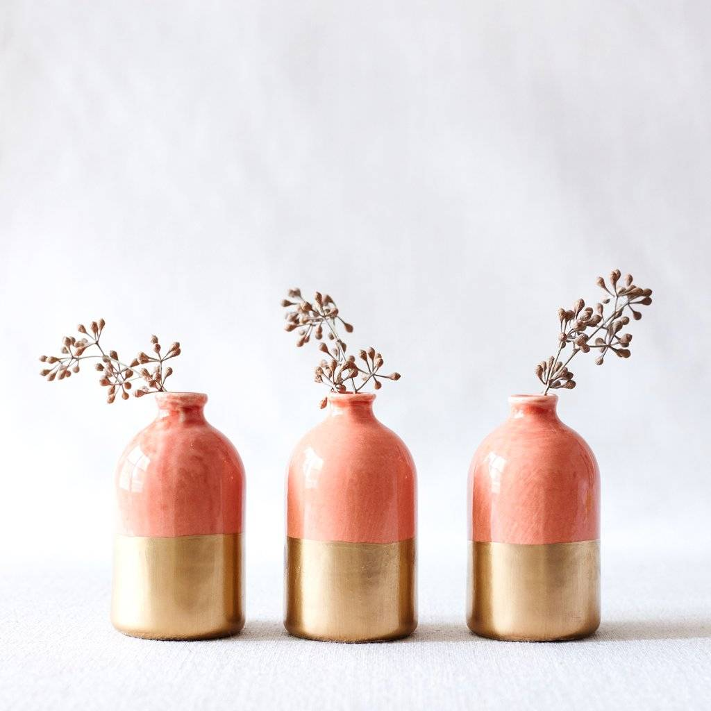 White and Gold Bud Vase