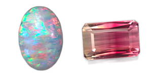 white opal and red tourmaline and transparent emerald cut opal