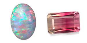 opale blanche et tourmaline rouge et transparente taille émeraude