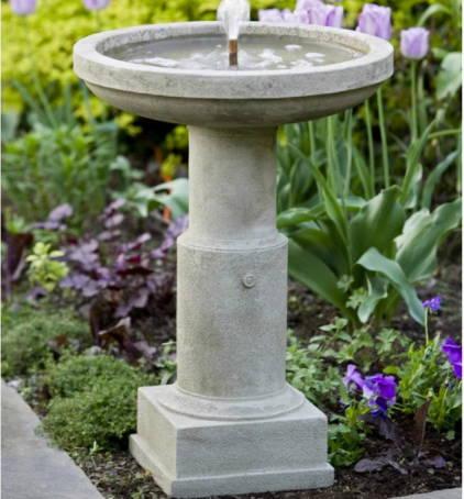 birdbaths, cast stone birdbaths, bubbler birdbaths, garden birdbaths