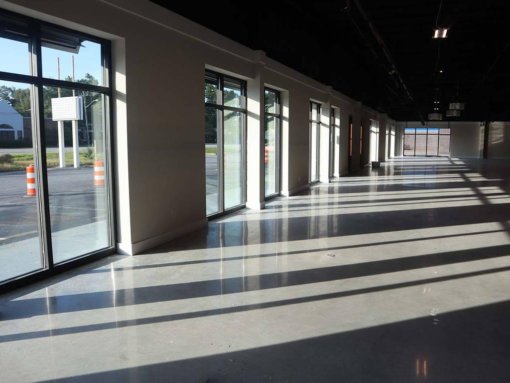 Construction of New Charleston Amish Furniture Showroom and Warehouse Interior Windows