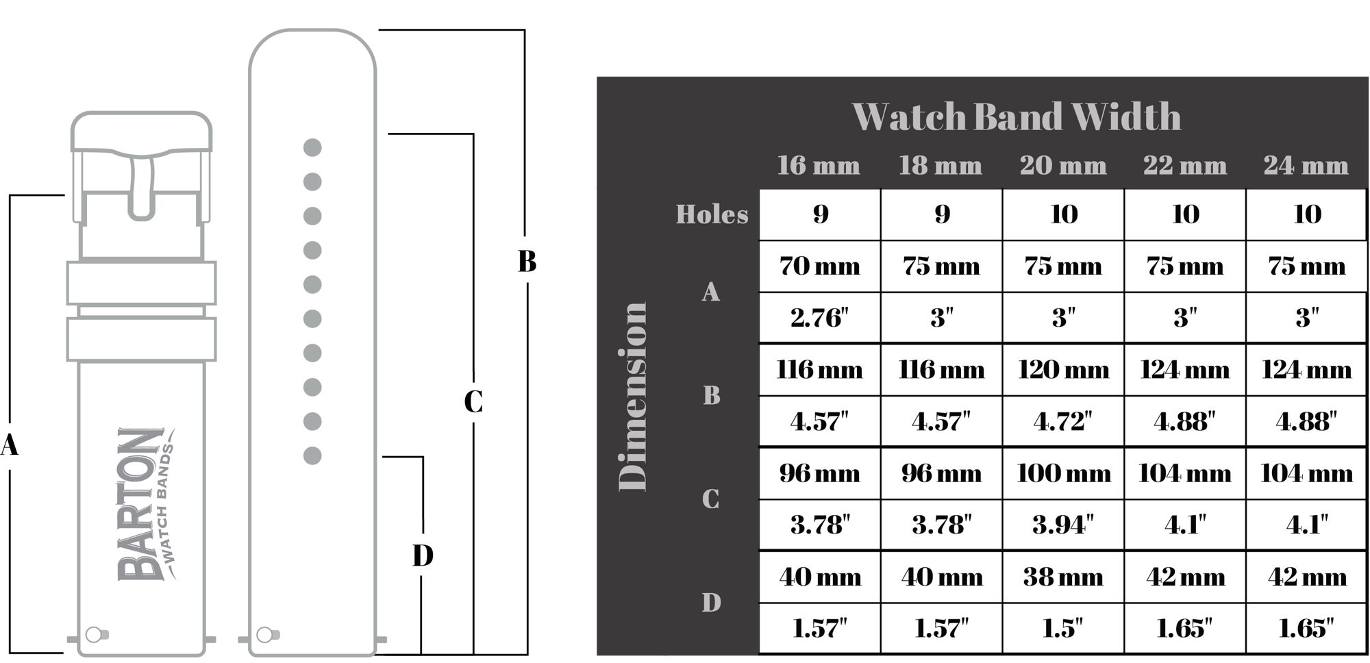 watch band dimensions barton quick release