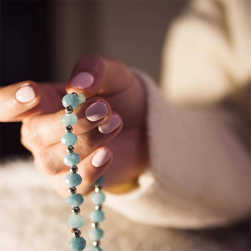 in hand Mala Beads by kumioils blogs