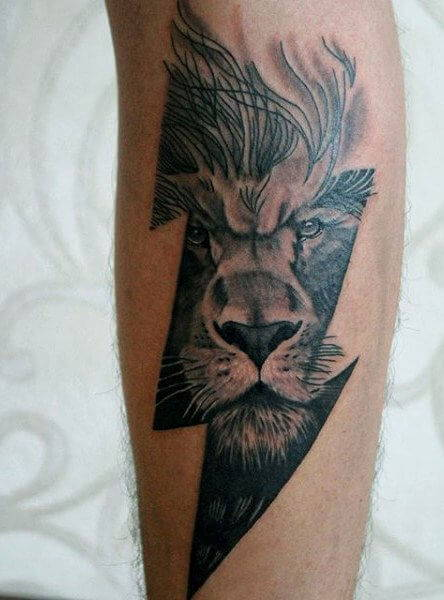 Tatouage Lion Eclair